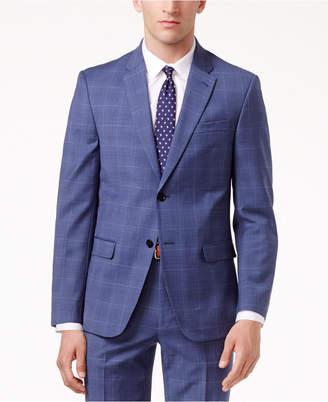 Tommy Hilfiger Men's Slim-Fit Stretch Performance Medium Blue Plaid Suit Jacket $425 thestylecure.com