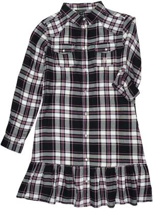 GUESS Girl's Ruffled Plaid Shirtdress