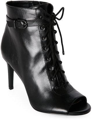 jones new york Black Grace Peep Toe Lace-Up Booties $149 thestylecure.com