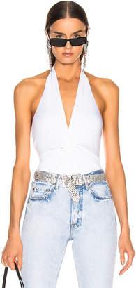 Enza Costa Front Knot Halter Bodysuit in White | FWRD