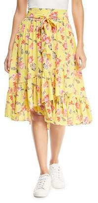 Joie Denisha Floral-Print Silk Flounce Skirt
