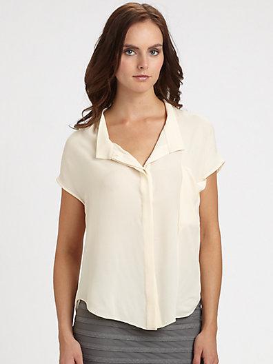 Halston Heritage Dropped-Collar Silk Blouse