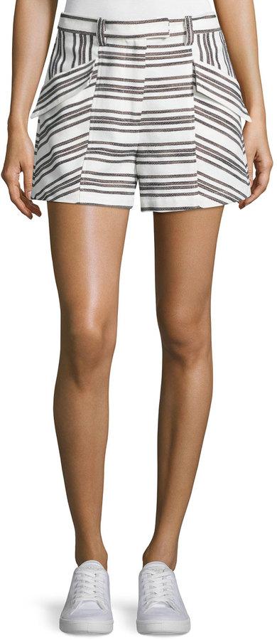 A.L.C.A.L.C. Hamilton Striped Shorts, Ivory/Black