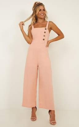 Showpo Stuck On My Mind jumpsuit in blush linen look - 8 (S) Playsuits