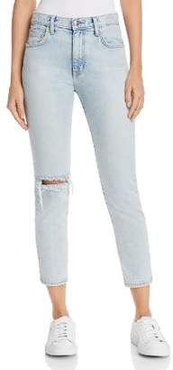 Current/Elliott The Vintage Cropped Straight-Leg Jeans in Century Destroy