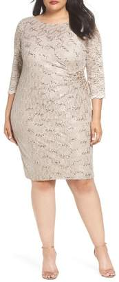 Alex Evenings Embellished Illusion Lace Shift Dress (Plus Size)