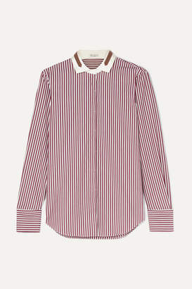 Brunello Cucinelli Bead-embellished Stretch Silk-trimmed Striped Cotton Shirt - Red