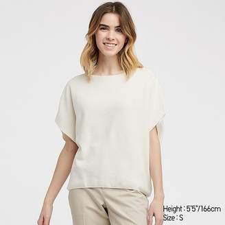 Uniqlo Women's 3d Cotton Cocoon Crew Neck Short-sleeve Sweater