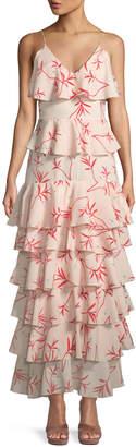 Borgo De Nor V-Neck Sleeveless Firefly-Print Tiered Ruffle Gown