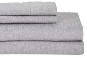 GLUCKSTEINHOME Flannel Heathered Cotton Sheet Set, 4 piece