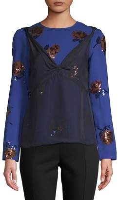 Dries Van Noten Women's Floral Sequined Long-Sleeve Blouse