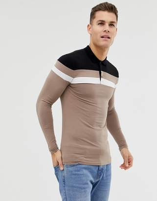 Asos DESIGN muscle fit long sleeve polo shirt with contrast body and sleeve panels in brown
