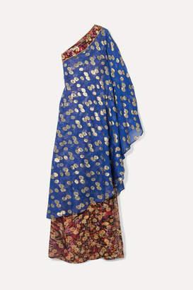 Dundas One-shoulder Metallic Fil Coupé Silk-blend Chiffon Maxi Dress - Cobalt blue