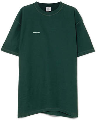 Vetements Oversized Embroidered Cotton-jersey T-shirt - Dark green