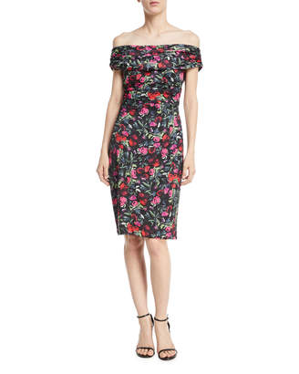 David Meister Floral Off-the-Shoulder Knee-Length Dress