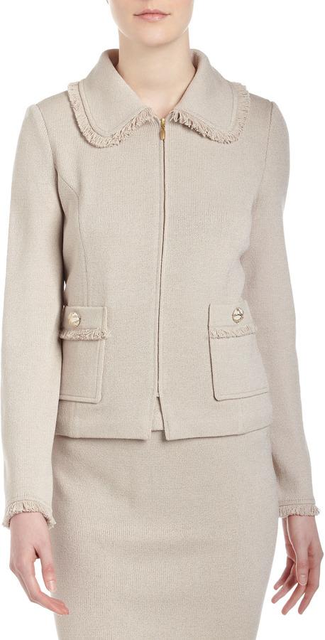St. John Santana Knit Rounded-Collar Zip-Front Jacket