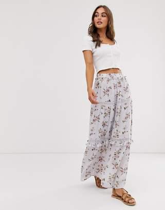 020bc4d6d8 Asos Design DESIGN prairie tiered maxi skirt in floral print