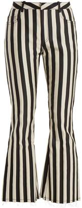 Marques Almeida MARQUES'ALMEIDA High-rise striped-satin kick-flare trousers