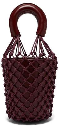 STAUD Moreau Macrame And Leather Bucket Bag - Womens - Burgundy