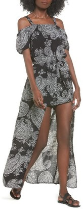Women's Sun & Shadow Off The Shoulder Maxi Romper $55 thestylecure.com