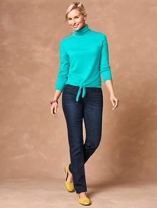 Talbots Tie-Front Merino Turtleneck Sweater