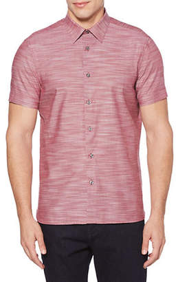 Perry Ellis Short-Sleeve Slub Woven Sport Shirt