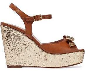 RED Valentino Bow-Embellished Glittered Leather Wedge Sandals