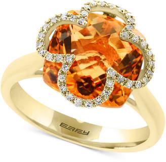Effy Citrine (6-1/2 ct. t.w.) & Diamond (1/8 ct. t.w.) Ring in 14k Gold
