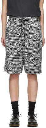 6397 Black and White Silk Print Board Shorts