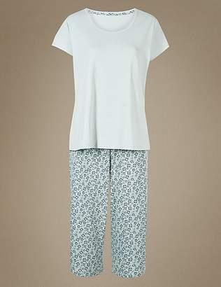 Marks and Spencer Pure Cotton Printed Short Sleeve Pyjama Set