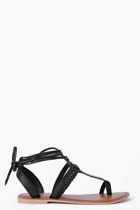 boohoo Boutique Megan Toe Post Ghillie Sandals