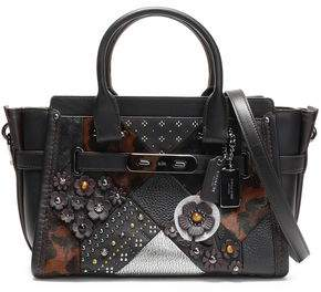Coach Embellished Leopard-Print Calf Hair Smooth And Textured-Leather Shoulder Bag