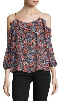 Joie Birtha Floral Cold-Shoulder Silk Top