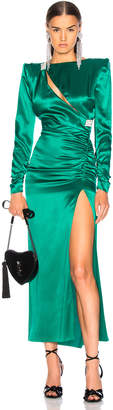 Alessandra Rich Slashed Front Silk Satin Gown