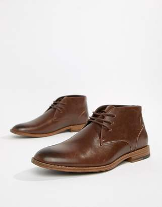 New Look faux leather chukka boot in brown