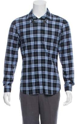 Givenchy Accented Plaid Button-Up Shirt blue Accented Plaid Button-Up Shirt