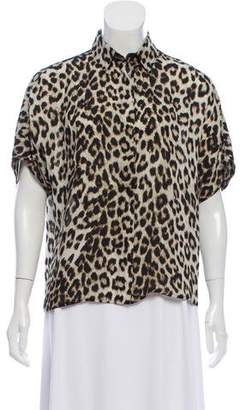 Rag & Bone Animal Print Short Sleeve Blouse