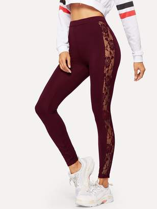 Shein Sheer Lace Insert Leggings