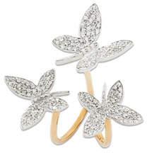 Fratelli Staurino 18k Rose Gold Nature Triple Diamond Butterfly Ring