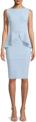 Chiara Boni Imma Sleeveless Peplum Sheath Cocktail Dress