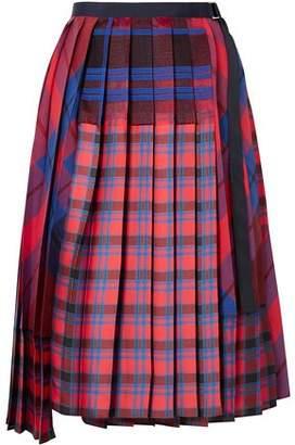 Sacai Pleated Satin Midi Skirt