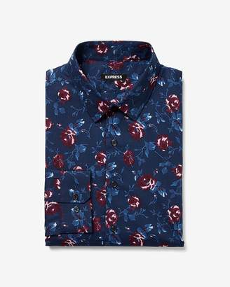Express Slim Floral Print Cotton Dress Shirt
