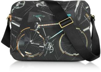 Paul Smith Black Canvas Bike Print Messenger Bag