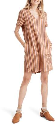Madewell Button-Back Easy Dress in Rainbow Stripe