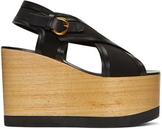 Isabel Marant Black Zlova Wedge Sandals $645 thestylecure.com