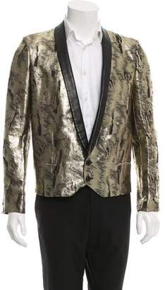 Saint Laurent Leather-Trimmed Jacquard Tuxedo Jacket