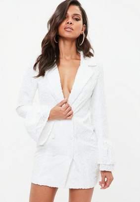 Missguided White Jacquard Flock Floral Frill Blazer Dress