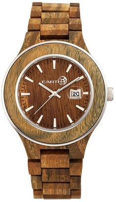 Earth Wood Cherokee Wood Bracelet Watch W/Magnified Date Olive 48Mm