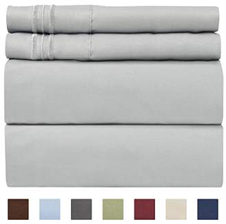 +Hotel by K-bros&Co Queen Size Sheet Set - 4 Piece Set - Hotel Luxury Bed Sheets - Extra Soft - Deep Pockets - Easy Fit - Breathable & Cooling - Wrinkle Free - Comfy – Light Grey Bed Sheets - Queens Sheets – 4 PC
