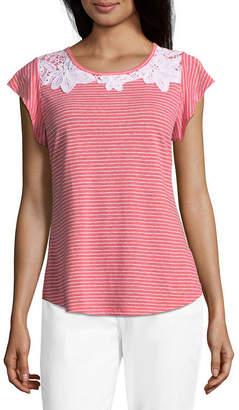 Liz Claiborne Ruffle Sleeve Lace Yoke T-Shirt